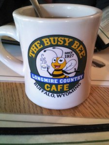Coffee at the Busy Bee Cafe in Buffalo, Wyoming.
