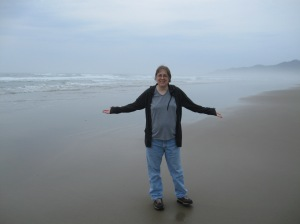 It's me at the Pacific Ocean.  I made it!!  A bit overcast but who cares!!