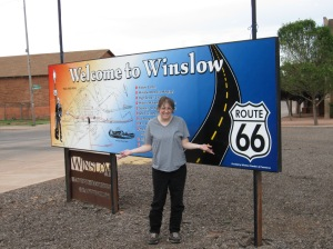 """Well, I'm a standin' on a corner in Winslow, Arizona Such a fine sight to see It's a girl, my Lord, in a flat-bed Ford Slowin' down to take a look at me""  by Jackson Browne and Glenn Frey"