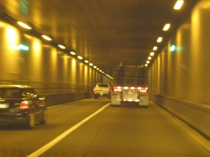 Driving through a mountain tunnel...I guess it is better than a windy mountain road!
